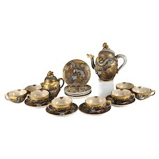 Japanese Satsuma Dragon Tea Service Set, Immortal Dragons Meiju Period, circa 1900