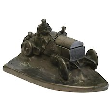 Wilhelm Zwick Art Nouveau Race Car Desk Inkwell Sculpture, Early 20th Cent