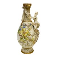 Large Amphora RSTK Enamel Pottery Vase of A Beauty Art Nouveau, circa 1900