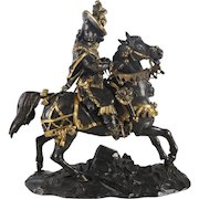 French Gilt & Patinated Bronze Louis XV Equestrian Musketeer Sculpture, 19th Century