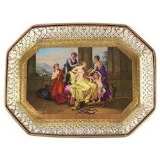 Royal Vienna Style Porcelain Hand Painted Tray, Venus von de Grazien Eingenben by Angelica Kauffmann, circa 1900