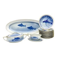 Rosenthal Selb Bavaria Porcelain Raised Fish Dinner Service for 12, circa 1912