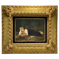 Dresden Hand Painted Plaque Penitent Magalene by L. Sturm After Correggio, circa 1900