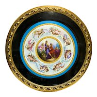 Sevres Style French Hand Painted Porcelain Framed Charger, circa 1900