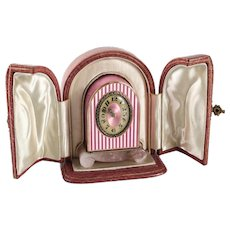 JTC Silver Guilloche Enamel Miniature Clock & Carved Rose Quartz Base, circa 1910