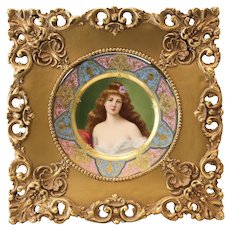 Royal Vienna Style Porcelain Cabinet Plate Bork's Rondel or Erbluth II, c1900 Framed