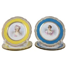 6 Sevres Style France Porcelain Hand Painted Portrait Plates, circa 1900. Signed O Brun
