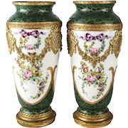 Pair of Sevres Style France Hand Painted Porcelain & Gilt Bronze Vases / Urns, circa 1900