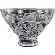 "Lalique France Clear & Frosted Art Glass Crystal Bowl ""Verone"", Signed"