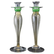 Pair of Large Venetian Art Glass Candlesticks, circa 1960. Gold Fleck Stems