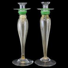 Pair of Large Venetian Art Glass Candlesticks, circa 1960. Gold Fleck Stems