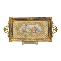 Sevres France Porcelain and Champleve Desk Tray, 19th Century. Cherubs