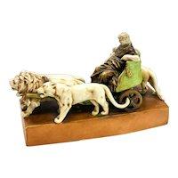 Amphora Austria Porcelain Hand Painted Sculpture Modeled by Strasser, Lions