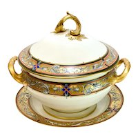 Berlin KPM Hand Painted Porcelain Double Handled Tureen with Underplate, c1860