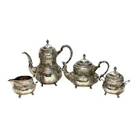 Weinranck Wilhelm German Hanau 800 Silver 4 Piece Coffee Tea Serving Set