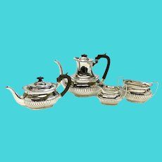 Mappin & Webb Sheffield Sterling Silver Tea Serving Set, 1962. Ribbed Texture
