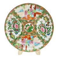 Chinese Canton Famille Rose Porcelain Quatrefoil Plate, circa 1850