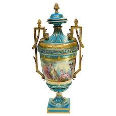 Large Sevres France Porcelain & Bronze Handled Footed Urn, 19th Century