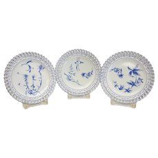 Emile Galle Nancy Faience 7 Piece Reticulated Dessert Service for 6. c.1890