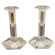 Pair Baccarat France Crystal Glass Pillar Hexagonal 9.25 inches Candlestick Holder