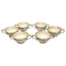 6 Minton Porcelain & Tiffany & Co. Sterling Silver Bouillon Bowls, circa 1890