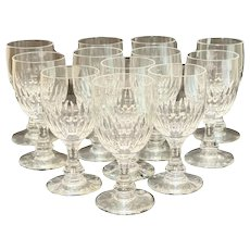 12 Baccarat France Cut Glass Cordial Wine Goblets in Odeon