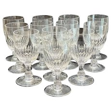 12 Baccarat France Cut Glass Sherry Wine Goblets in Odeon