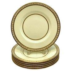 6 Minton England Porcelain Dinner Plates, circa 1920. Gilt Floral Rim