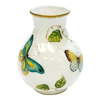 Anna Weatherley Hungary Hand Painted Porcelain Bud Vase in Butterfly