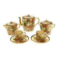Japanese Porcelain Satsuma Hand Painted Tea Service for 2, Early 20th Century