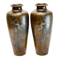 Pair Japanese Meiji Period Bronze Mixed Metal Inlay Rooster Vases