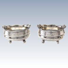 Alice & George Burrows II London Sterling Silver Footed Open Salt Cellars, 1826