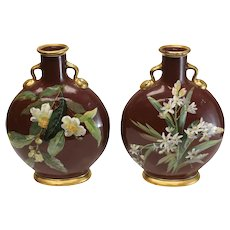 Pair Minton Porcelain Moon Flask by William Mussill, 1871