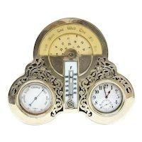 Lebkeucher & Co. Sterling Silver Calendar, Thermometer, Clock, & Hygrometer