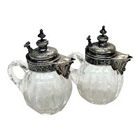Pair German 800 Silver and Acid Etched Glass Oil and Vinegar Bottles, circa 1900