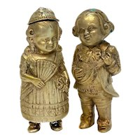 Pair German 800 Gilt Silver Novelty Figural Salt and Pepper Shakers, circa 1900