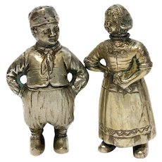 Pair Continental 800 Silver Figural Novelty Salt and Pepper Shakers