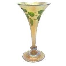 LCT Louis Comfort Tiffany Heart Vine Intaglio Cut Glass Trumpet Vase #1534-589M.