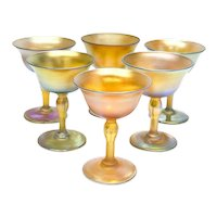 6 Louis Comfort Tiffany LCT Favrile Wine Goblets, Multi-Hued Iridescence