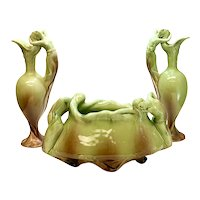 3 Piece Delphin Massier Ewer and Jardiniere Garniture, Partially Nude Beauties