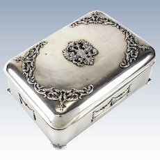 84 Silver Jewelry Box Russian Imperial Eagle Double-Headed Coat of Arms, 19th Century