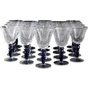 21 Venetian Art Glass Wine Goblets, Controlled Bubbles. Mid Century