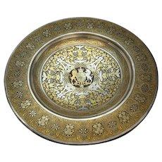 Spanish Toledo Silver Gold Damascene Steel Dish English Royal Coat Arms c.1850