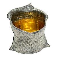 Pradella Ilario Buccellati Italian Sterling Silver Trompe L'oeil Flour Sack Vase