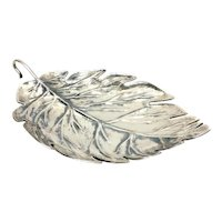 Vecchia Argenteria Prenta Italian Sterling Silver Large Leaf Centerpiece Dish