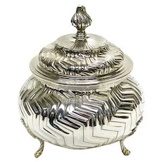 Tiffany & Co Italian Sterling Silver Large Footed Lidded Box. Geometric Stripes