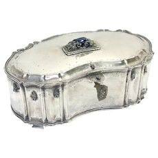 Italian 800 Silver Diamond and Sapphire Table Box with Key, 1st Half 20th Century