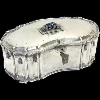 Italian 800 Silver Diamond and Sapphire Table Box with Key, 1st Half 20th Century