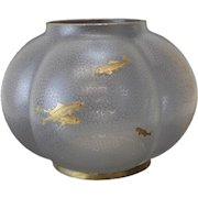 English Art Glass Bulbous Formed Centerpiece Bowl, 19th C. Acid Etched Fish