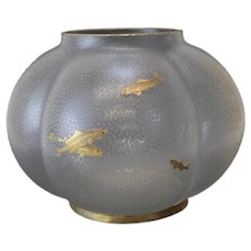 English Art Glass Bulbous Formed Centerpiece Bowl, 19th C. Acid Etched Fish